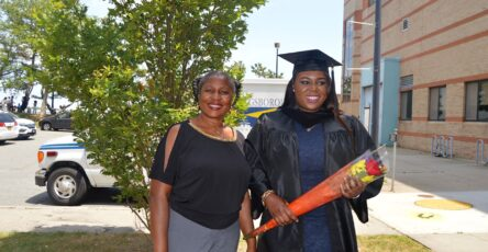 Nigerian mother with her daughter at graduation