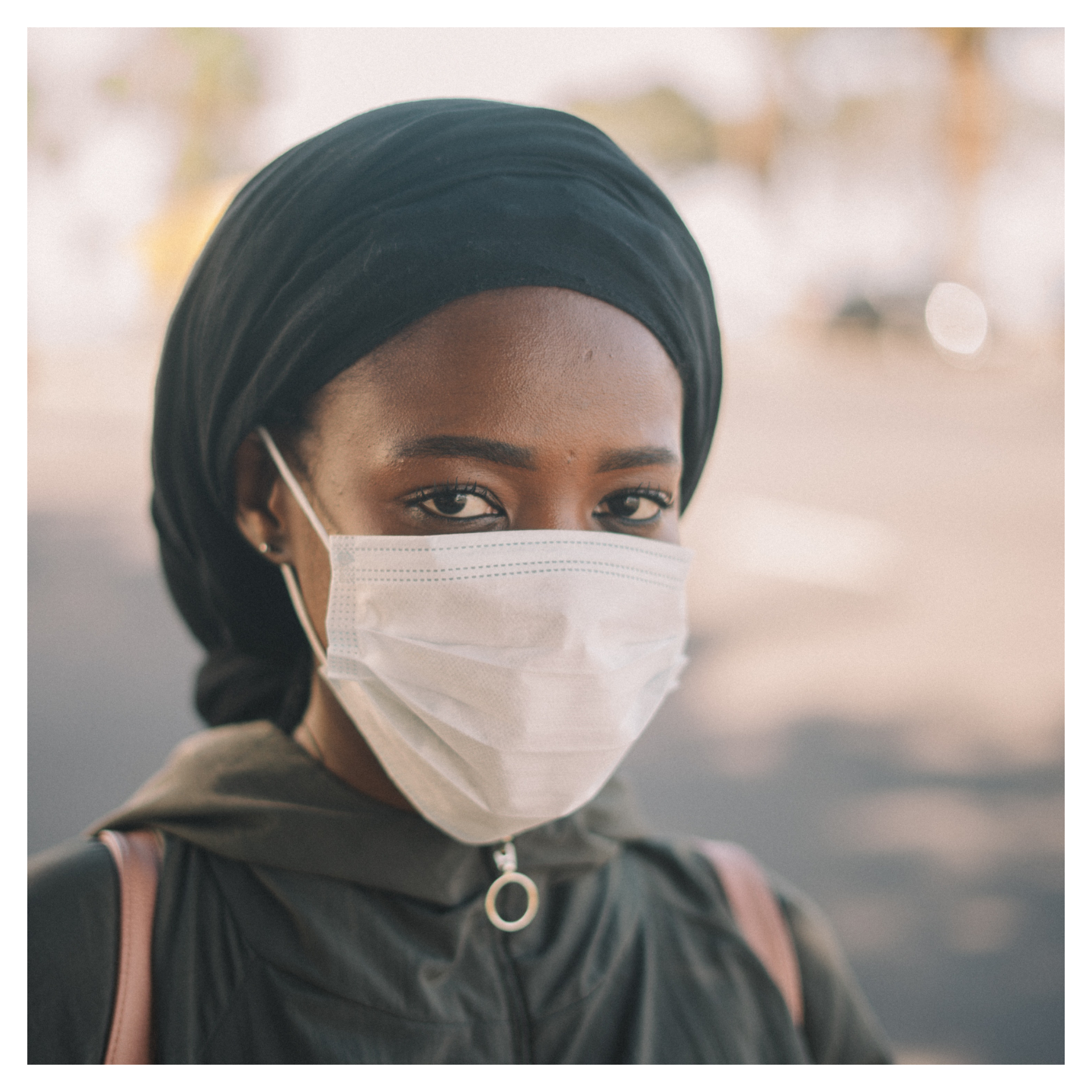 Lady with face mask on